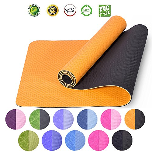 Excrise Premium Durable TPE Foam 6mm Eco-Friendly Yoga Mat Anti-Tear Gym Mats Outdoor Camping Mats with Carry Strap - (Premium Tear)