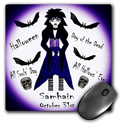 3dRose WhiteOaks Photography and Artwork - Anime Designs - Little Anime Character with Different Halloween Names Around her - Mousepad (mp_201708_1) ()