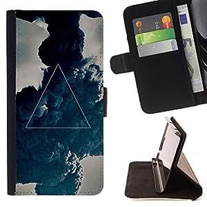 For HTC One M9 Case , Místico Símbolo Triángulo del Arte Pintura- la tarjeta de Crédito Slots PU Funda de cuero Monedero caso cubierta de piel