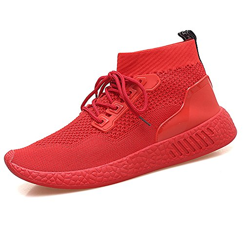 Btrada Hommes Chaussures De Course Ultra Lueur Mouche Maille Respirant Casual Mode Sport Baskets Rouge