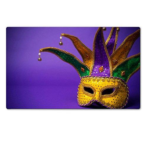 [Luxlady Natural Rubber Large TableMat Image ID 25892118 Festive mardi gras venetian or carnivale mask on a purple] (Mardi Gras Masks Template)
