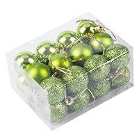 24 piezas de bolas de navidad adornan los colgantes a prueba de golpes para las decoraciones navideñas del jardín de Navidad (verde)