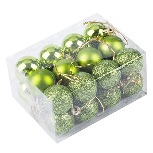 24pcs Christmas Balls Ornament Shatterproof Pendants for Holiday Xmas Garden Decorations (Green)