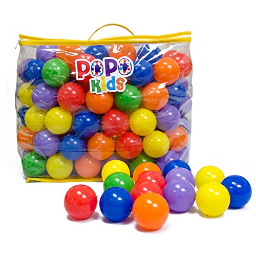 PoPo Kids Pack of 200 Balls, Phthalate Free BPA Free, Crush Proof Plastic Ball, Pit Balls, Durable Storage Mesh Bag with Zipper (PoPo Kids) by PoPo Kids