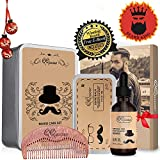 QQwow Beard Grooming & Care Kit for Mens, Elegant Mens Gift Set Includes Beard Oil 60ml,Beard Balm 2.82oz,Wooden Comb, Perfect for Mens,Birthday, Anniversay, Christmas Gift