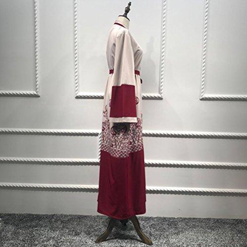 Long Turkey Arab Muslims Cardigan Red Red Loose Dubai East Zhhmeiruian Middle Women's Robe Islamic Printing Fashion Dresses 6BqxOvH8