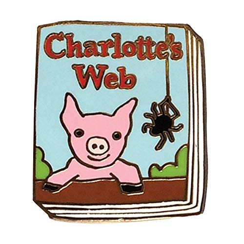 FLORIANA Book-Lover Lapel Pin - Charlotte's Web Enameled Book Cover - 1
