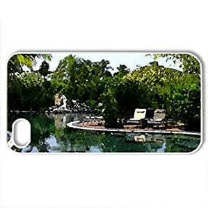 Beautiful Island Pool - Case Cover for iPhone 4 and 4s (Beaches Series, Watercolor style, White)