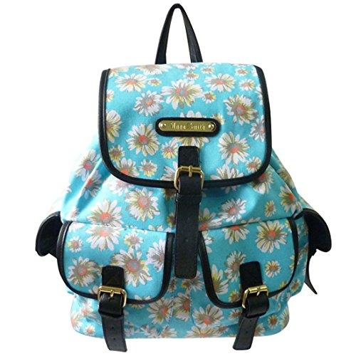 LYDC Blumen-und Dot Florenz Rucksack / Designer-Blumen-Spot Drucken Rucksackhandtaschen (Gänseblümchen Schwarz) Gänseblümchen Lichtblau AHSbGF