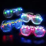 New Years Eve Party Supplies Happy New Year LED Slotted Sunglasses (4 per order)