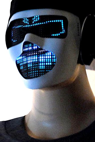 Original Huboptic Electric FX - White Mask - DJ Mask Face Expression Light Up Mask LED Eyes Neon mask Smiley Smile Wrench Mask Bot Rave Mask Robot Mask Cyborg Ninja Mask Cosplay Party Mask