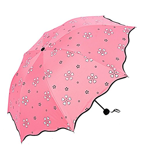 Cheap  SUOWO COMPACT folding windproof travel umbrella color change light weight sun rain..