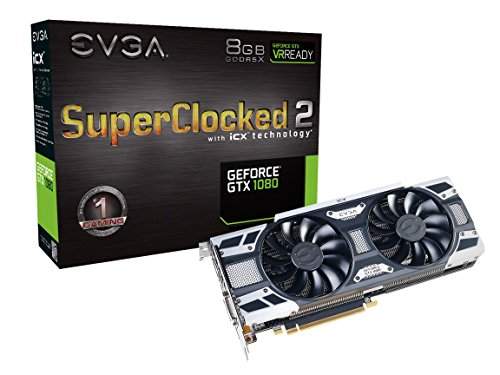 EVGA GeForce GTX 1080 SC2 Gaming, 8GB GDDR5X, iCX Technology - 9 Thermal Sensors & RGB LED G/P/M, Asynch Fan, Optimized Airflow Design Graphics Card 08G-P4-6583-KR