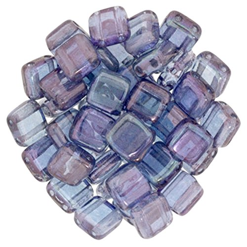 (Czechmate 6mm Square Glass Czech Two Hole Tile Bead - Luster Transparent Amethyst)