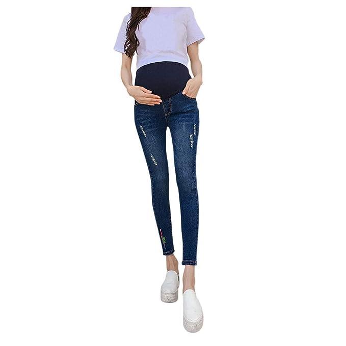 Goyajun Jeans Maternidad - Mujer Embarazo Skinny Flaco Suave Pantalones de Mezclilla Elásticos Banda de Cintura