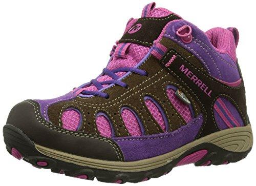 Merrell Chameleon Mid Lace Hiking Shoe (Infant/Toddler/Little Kid/girl),Brown/Pink,13 M US Little Kid