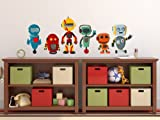 Sunny Decals Robot Fabric Wall Decals (Set of 6), Medium