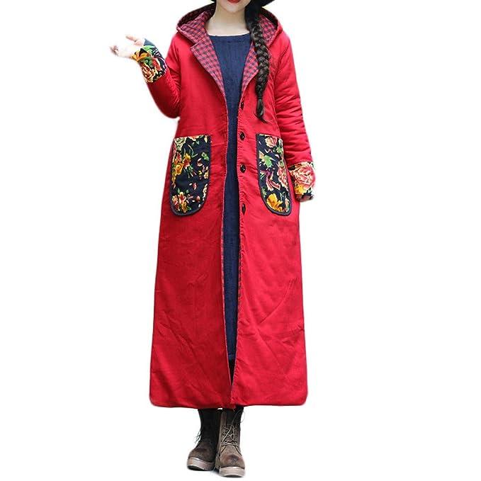 Linlink Mujeres más el Gran tamaño Sombrero de Invierno Abrigo de algodón Acolchado Tapas de impresión fácil Larga Chaqueta Suelta Chaqueta Larga: ...