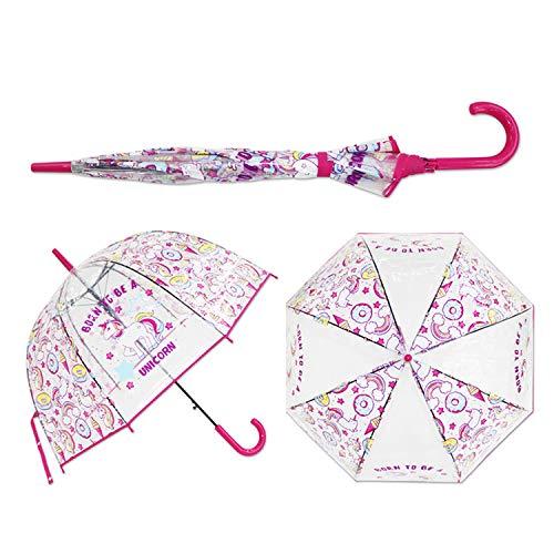 (Kids Unicorn Umbrella Cute Transparent Umbrellas Apollo Semi Automatic Cartoon Penguin Children Umbrella Drop Shipping,Red)