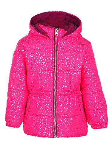 - Pink Platinum Girls' Little Printed Foil Star Puffer Jacket, Pink Glow, 4