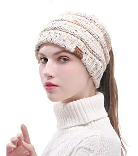 c8f0bff2e7f C.C CC BeanieTail Soft Stretch Cable Knit Messy High Bun Ponytail Beanie Hat  (Confetti Lace