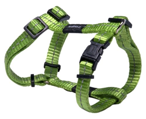 Reflective Adjustable H Harness for Small Dogs; matching collar and leash available, Green
