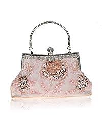 SXON Women Vintage Handmade Beaded Sequinned Rose Evening Bag for Wedding Party