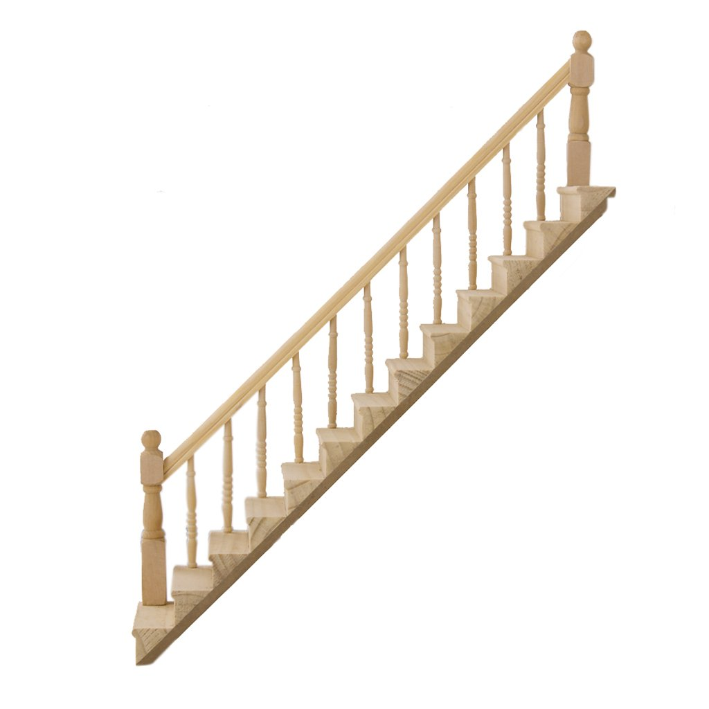 Amazon.com: 1:12 Dollhouse Pre Assembled Staircase Wooden Stair Stringer  Step With Left Handrail By Generic: Toys U0026 Games