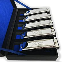 Harmonicas For Adults Harmonica Set With Case By Reckless Harmonicas. Deluxe 5 Piece Blues Harmonicas In Keys Of A, C, D, E, & G. 10 Hole Diatonic Harmonicas Packaged In Vintage Display Case