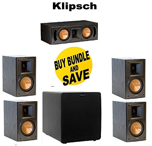 (2 Pairs) Klipsch RB-51 II Reference Series Bookshelf Loudspeakers + Klipsch – RC-42 II Center Speaker – Black – Each + Klipsch SW-110 Subwoofer System – 200 W RMS – Black Bundle