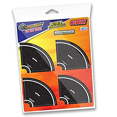 """PlayTape 2"""" Tight Curves 8 Pack – Road Car Tape Great for Kids, Sticker Roll for Cars and Train Sets, Stick to Floors and Walls, Quick Cleanup, Children Toys Birthday Gift: Toys & Games"""