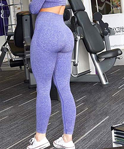 Yaavii Seamless Workout Leggings for Women High Waisted Butt Lifting Gym Yoga Pants Tummy Control Sports Tight Activewear Purple