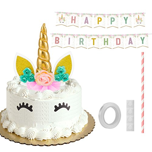 Amazon ANPHSIN Unicorn Cake Topper Set With Happy Birthday Banner And Eyelashes Horn Ears Flowers For Decor