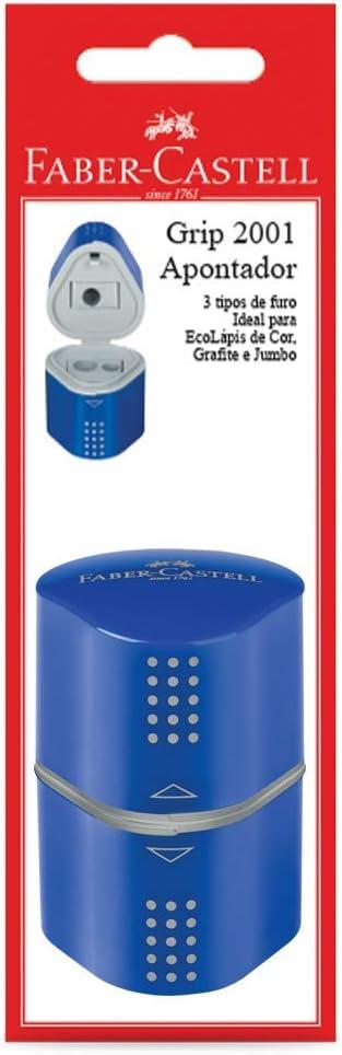 Apontador com Depósito, Faber-Castell, Grip 2001, SM/MIXGRIPAPO, 3 Tipos de Furo, Cores Sortidas