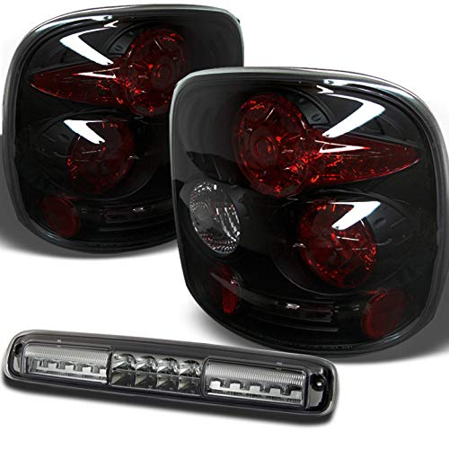 Xtune for 1999-2004 Chevy Silverado/GMC Sierra StepSide Black Smoke Tail Lights + LED 3rd Brake Cargo Lamp 2000 2001 2002 2003