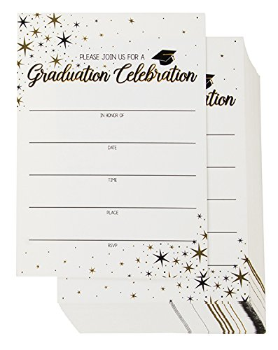 (60-Pack Graduation Party Invitations - Graduation Invitations Cards, Graduation Ceremony Announcement Cards, 2018 Graduation Party Favors, Envelopes Included, White, 5 x 7)