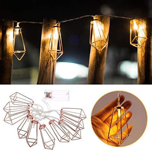 GYM HEROES Rose Gold Geometric String Lights,5 FT 10 LED Fairy Lights Battery Powered Boho Wall Decor for Home Patio Bedroom Garden Wedding Party Indoor Decoration (Diamond)