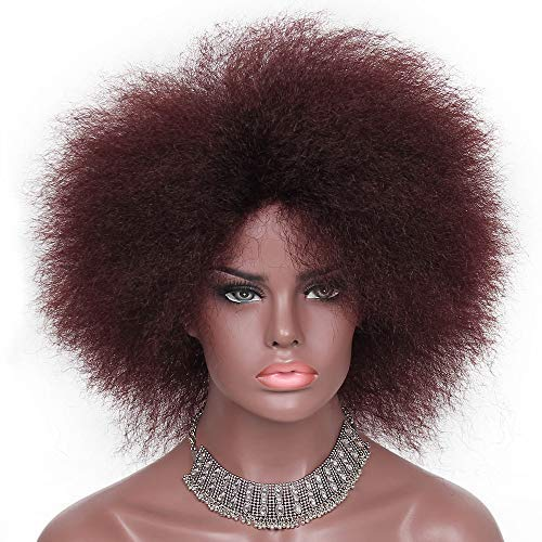 Red Afro Wigs 70s Afro American Puff Wig for Black Women Wine Red Synthetic Fluffy Tight Puff Wig with Side Part (99J#)