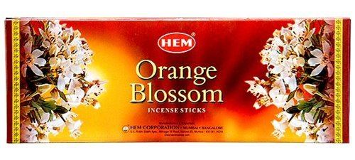 Orange Blossom - Box of Six 20 Stick Hex Tubes - HEM Incense Hand Rolled In - Orange Sticks Incense