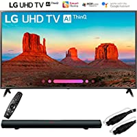 LG 49UK6300PUE 49 Class 4K HDR Smart LED AI UHD TV w/ThinQ (2018) w/Sharper Image 37 Sound Bar Bundle