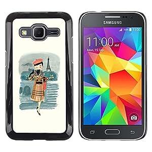 LECELL--Funda protectora / Cubierta / Piel For Samsung Galaxy Core Prime SM-G360 -- French Girl Lady Woman Fashion Beret --