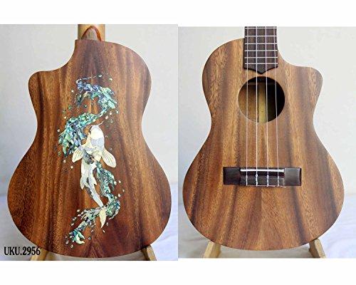 Kaytro-Dragon&Fish Inlaid-Solid Wood Acacia Koa Ukulele Tenor Handmade 2956