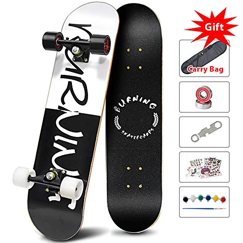 Easy_way Complete Skateboard -Standard Skateboard for Beginner Starter Kids Boys Girls Youths - 31''x 8''Canadian Maple Pro Cruiser Standard Skate Boards