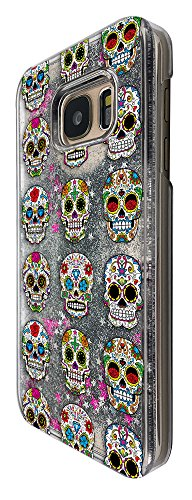 Rose Collage (c00859 - Cool Funny Mexican Sugar Skull Tattoo Roses Collage Design For Samsung Galaxy S7 G930 Fashion Trend CASE Protective Cover Liquid Floating Luxury Bling Glitter star Sparkle Case -Clear&Silver)