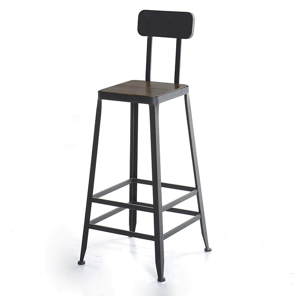 No seat cushion Square Iron Bar Chair Industrial Wind Back Bar Stool Simple Home Leisure High Stool Cafe Table and Chairs (color   with seat Cushions, Size   Square)