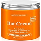 Cellulite Cream & Muscle Relaxation Cream Huge 8.8oz, 100% Natural 87% Organic - Cellulite Cream Treatment Hot Gel, Firms Skin - Muscle Rub Cream, Muscle Massager