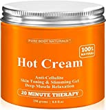 Cellulite Cream & Muscle Relaxation Cream Huge 8.8oz, 100% Natural 87% Organic - Cellulite Cream Treatment Hot Gel, Firms Skin - Muscle Rub Cream, Muscle Massager 1 Pack