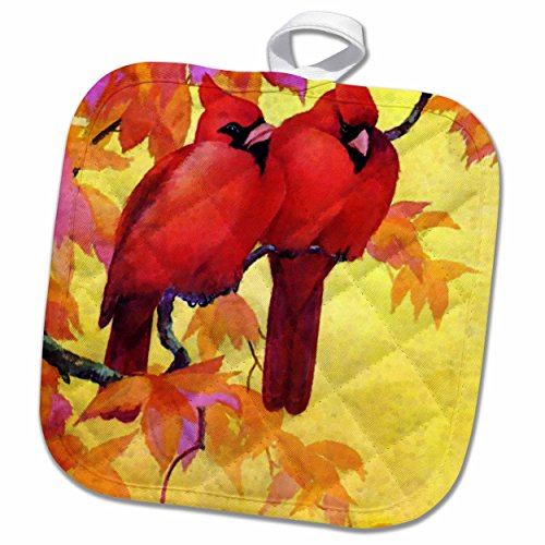 Must Have 3d Rose Red Cardinals And Gold Autumn Leaves Pot Holder 8 X 8 From 3drose Ibt Shop