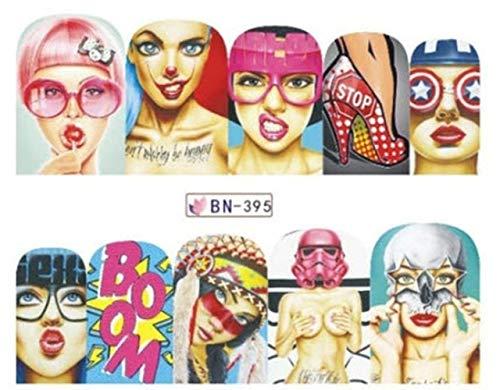 Full Sheet PoP Culture Lips Nail Stickers Wonder Woman Harley Quinn - Salon Quality Nail Art Nail Wrap Nail Decals - 1 Sheet]()