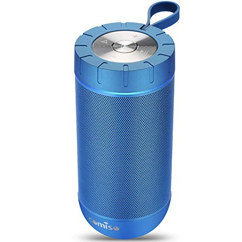 COMISO Waterproof Bluetooth Speakers Outdoor Wireless Portable Speaker with 24 Hours Playtime Superior Sound for Camping, Beach, Sports, Pool Party, Shower (Navy Blue)